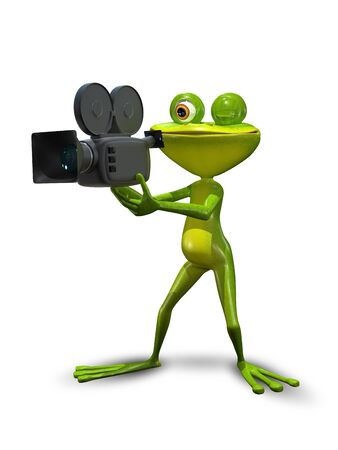 producer: illustration green Frog producer with a camcorder