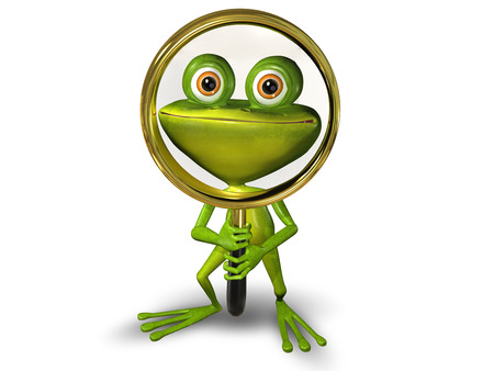 eye glasses: illustration merry green frog with magnifying glass