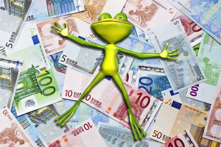 thrift: Illustration of a green frog in money Stock Photo