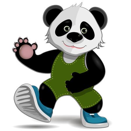 jungle plants: illustration cute fat panda on a white background
