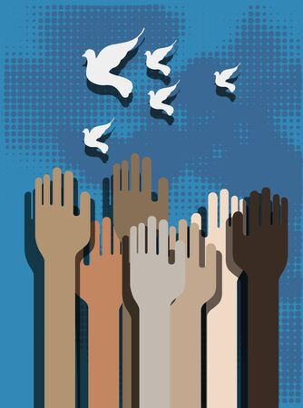 Hands of people on a blue background and doves Иллюстрация