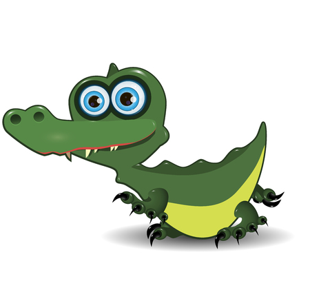 green cute: Illustration of cute green crocodile with blue eyes