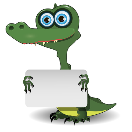 green cute: Illustration of cute green crocodile with white background Illustration
