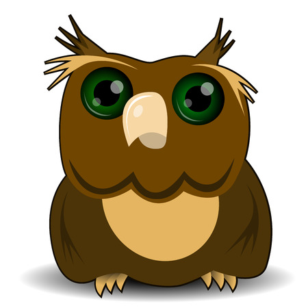 illustration goggle-eyed wise owl with green eyes Stok Fotoğraf - 46183690