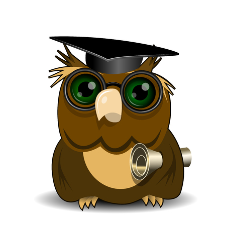 green eye: Illustration Owl scientist with green eye on white background