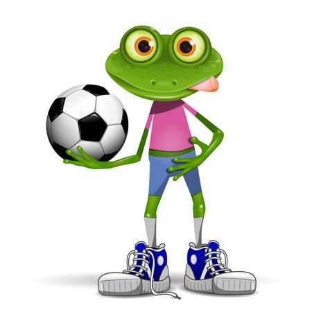 rana caricatura: Futbolista feliz Ilustración rana con la pelota Vectores
