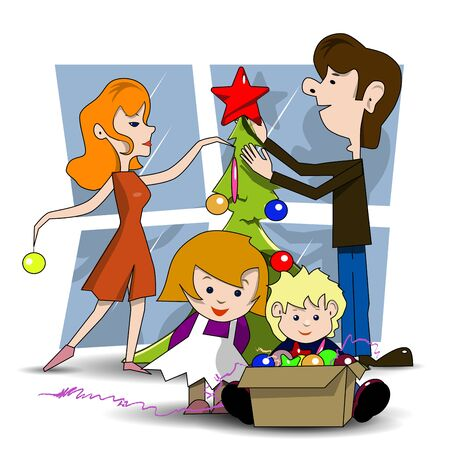 family holiday: Illustration family decorates Christmas tree before the holiday