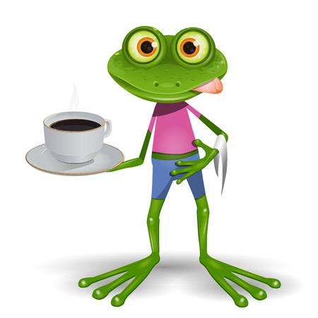 ホット コーヒーのカップのイラスト緑カエル