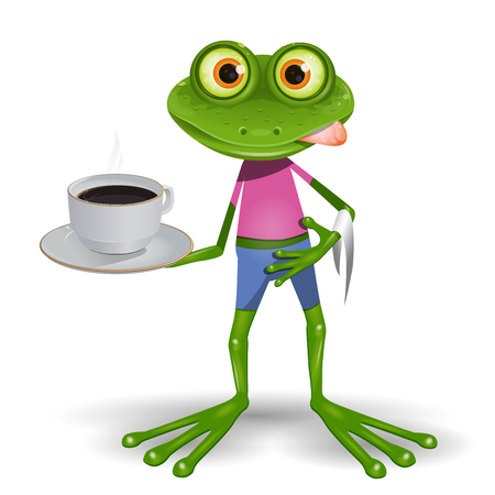 Illustration green frog with cup hot coffee Illustration