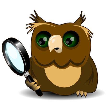 magnifying: Illustration curious owl with a magnifying glass Illustration