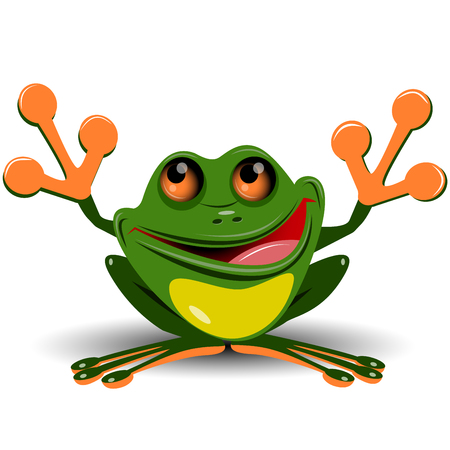 Illustration merry green frog with big eyes