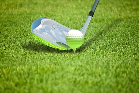 hockey cesped: Abstract illustration with ball for golf on herb