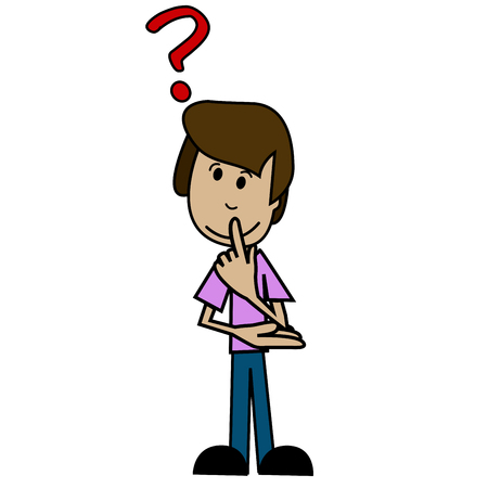 black man thinking: Illustration of a cartoon man with question mark