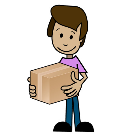 cargo pants: Illustration of a cartoon man with the box