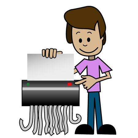 shredder: Illustration of a cartoon man with shredder