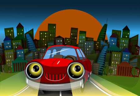 diversion: Ilustración del coche rojo en la carretera a la ciudad Vectores