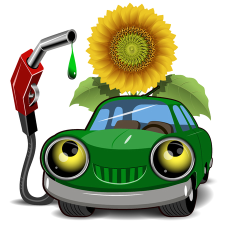 car tire: Illustration of a green car fueling and sunflower