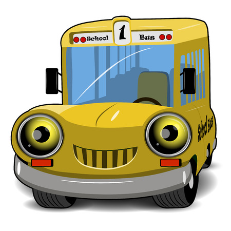 education cartoon: Illustration a cartoon cheerful yellow school bus