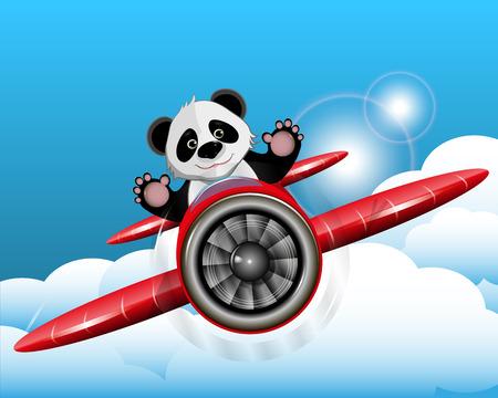 cheerful cartoon: Illustration cheerful red panda on a plane Illustration