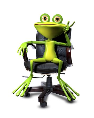 glance: Illustration cartoon frog in a chair Head