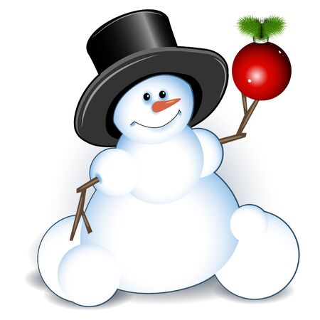 new years: Illustration new years snowman on white background