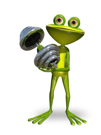 gymnastics: Illustration a frog doing gymnastics sport dumbbells
