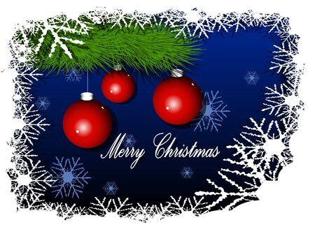 briliance: Illustration Christmas red balls on blue background Illustration