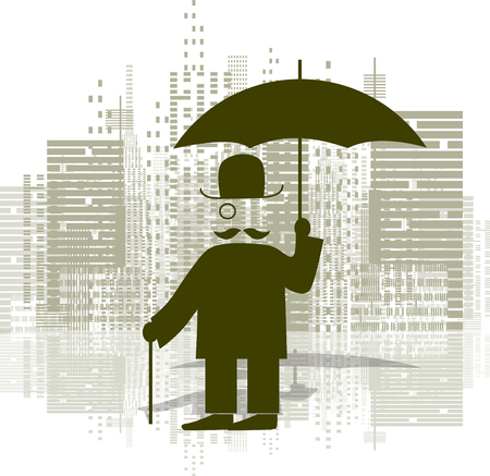 monocular: Illustration of a man with an umbrella in a monocle Illustration