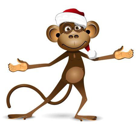 monkey face: Illustration funny monkey symbol of the New Year Illustration