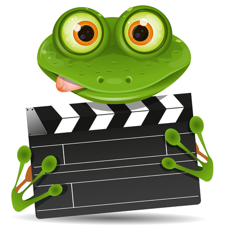 movie clapper: Illustration green frog with a movie clapper
