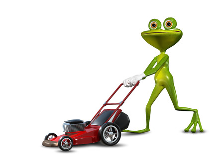 Illustration green frog with a lawn mower Banco de Imagens