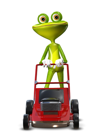 brooding: Illustration green frog with a lawn mower Stock Photo