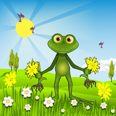 Illustration of a green frog weeding dandelions Ilustração
