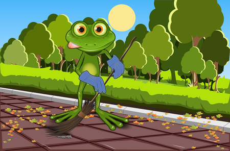 brooding: Illustration of a green frog with a broom