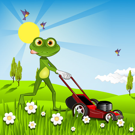 triton: Illustration green frog with a lawn mower Illustration