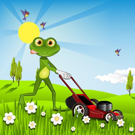 Illustration green frog with a lawn mower Ilustração