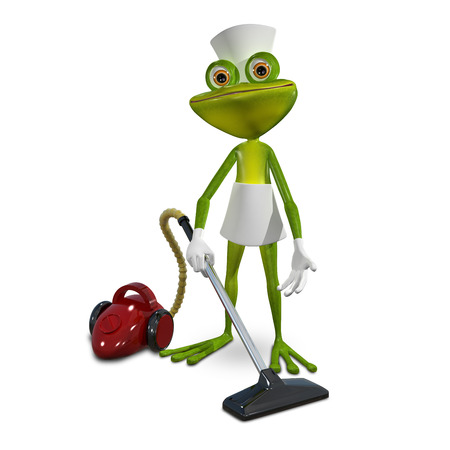Illustration of a green frog maid with vacuum cleaner