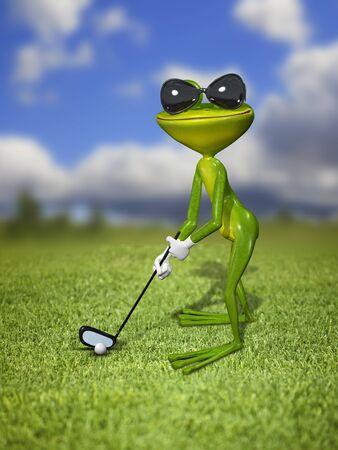 animals amphibious: Illustration frog golfer on a green lawn
