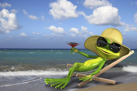 deckchair: Illustration of a green frog in a deckchair on the beach