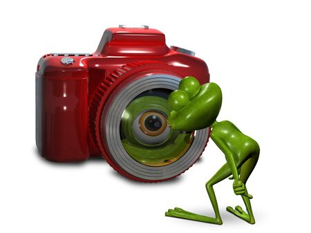 Illustration frog in front of the camera