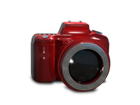 foto: Illustration red camera on a white background