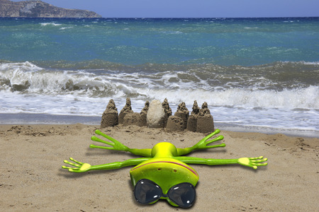 lays: Illustration of a green frog lays on the beach