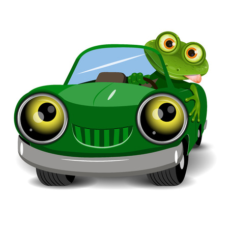 eye glasses: Illustration of a green frog in the car