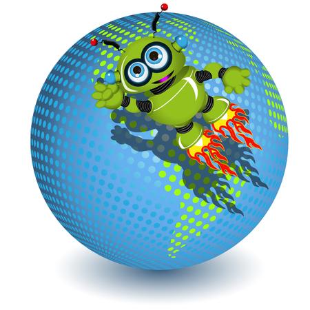 Illustration the green robot on the planet Çizim