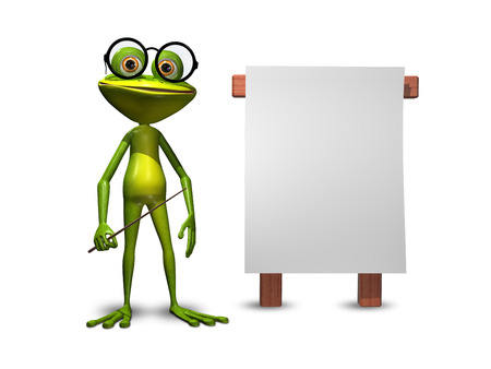 triton: Illustration green frog with a pointer and a white background Stock Photo