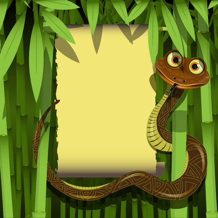 Illustration cute boa in the tropical bamboo forest