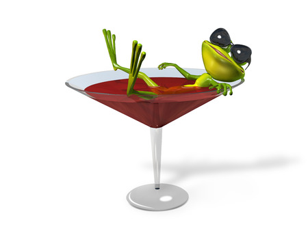Illustration green frog in a glass of wine