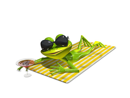 sunglasses: 3d illustration of a frog with glasses on a towel Stock Photo