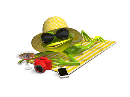 triton: 3d illustration of a frog with glasses on a towel Stock Photo