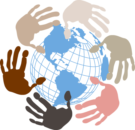 Illustration a blue globe surrounded by hands